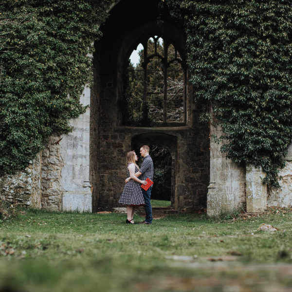 Joanna and Mark's pre-wedding shoot at St. Mary's Ruins, Little Chart, Ashford, Kent